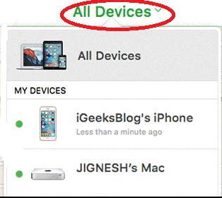 all devices in icloud