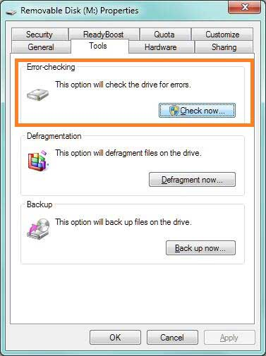 Run the Error-Checking tool when Storage Device Is Damaged