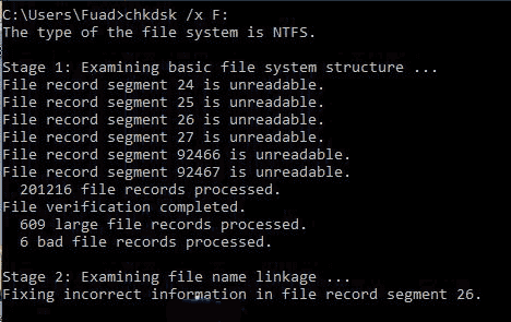 chkdsk to repair corrupted hard drive