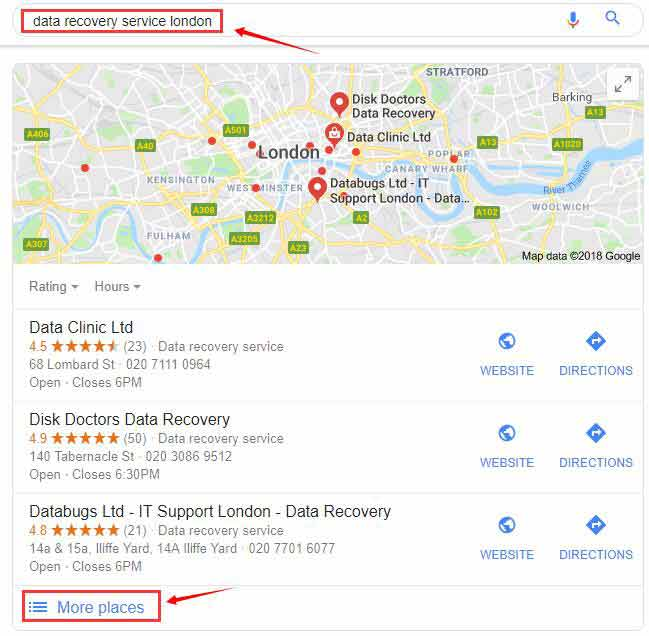data recovery service google suggest