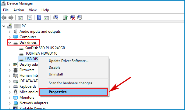 Right click usb drive properties in device manager