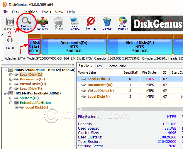 Diskgenius recover lost partition table