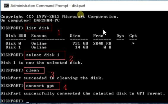 diskpart format disk gpt using cmd