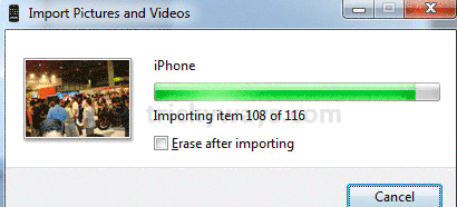erase after importing