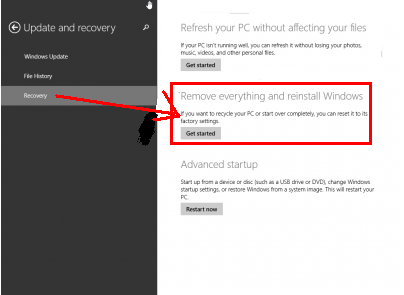 erase data after reset windows 8