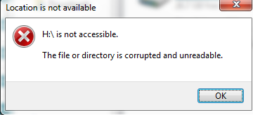 file or directory is corrupted