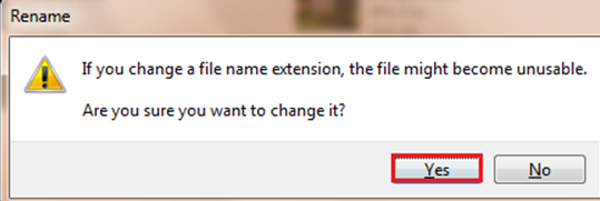 file unusable after changing filename extension.