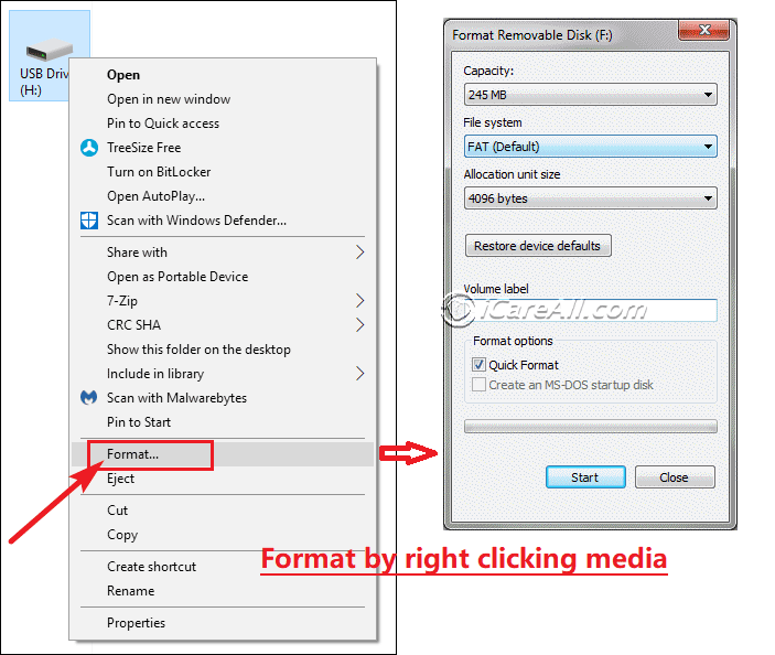 format sandisk raw to fat32