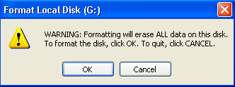 formatting will erase all data