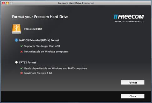 format disk fat32 with freecom hard drive formatter