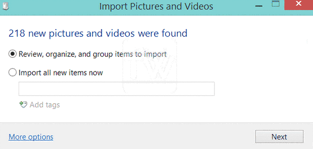 import pictures and video window