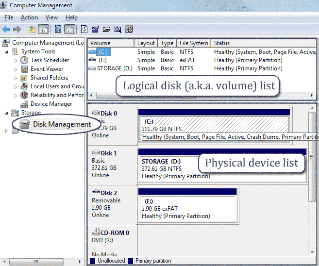 open disk management
