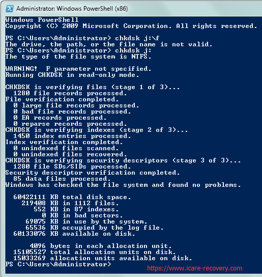 chkdsk in powershell