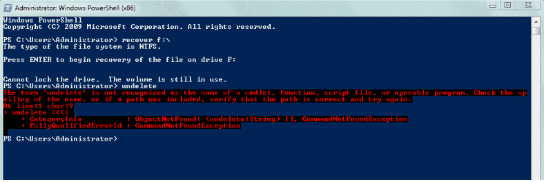 powershell recover files