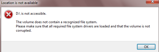 raw drive not accessible