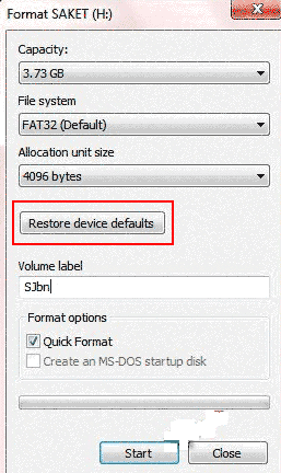restore device defaults