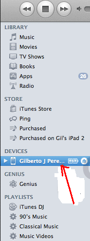 select iphone in itunes