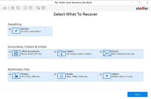 select recovery file types