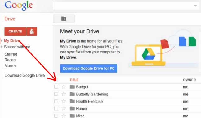 title of documents on google drive