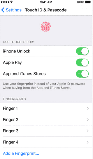 turn off touch id passcode