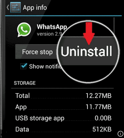 uninstall whatsapp