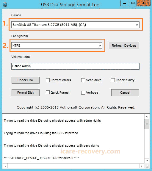 usb disk format tool