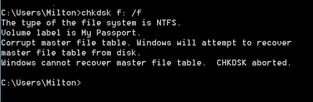 Corrupt Master File Table CHKDSK Aborted on External Drive