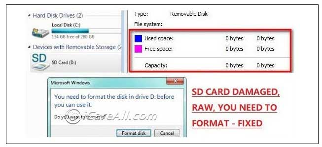 micro sd damaged raw 0 bytes